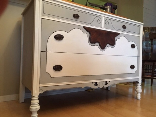 After, white and gray antique dresser